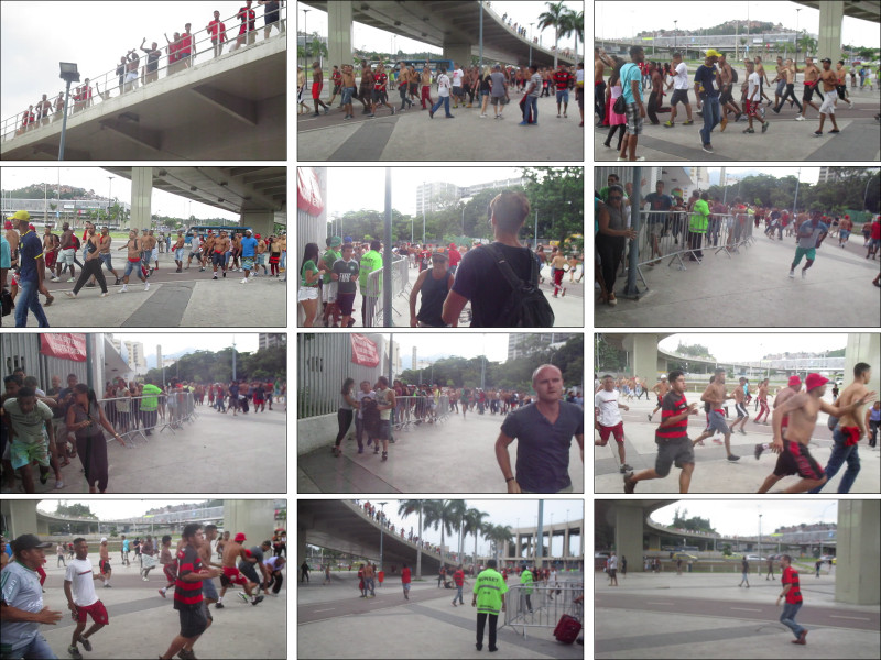 Baston devant le stade Maracanã